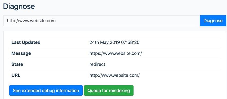Screenshot showing redirect