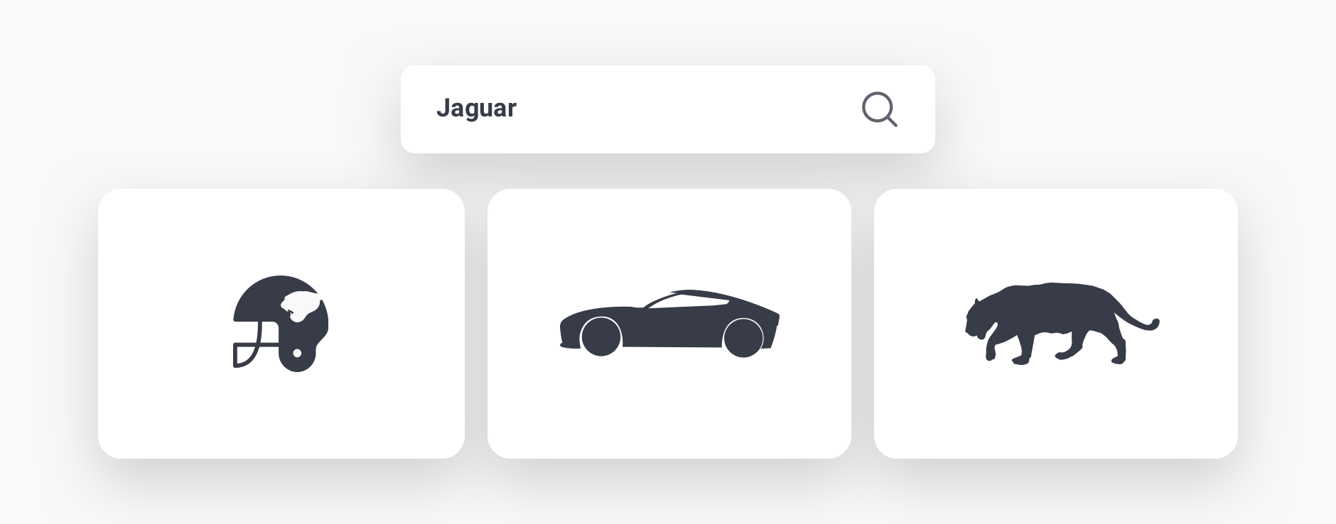Illustration showing the word Jaguar having multiple meanings